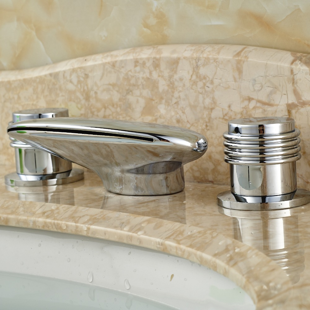 Modern Two Handle Widespread 3 Hole Basin Sink Faucet Deck Mounted ...
