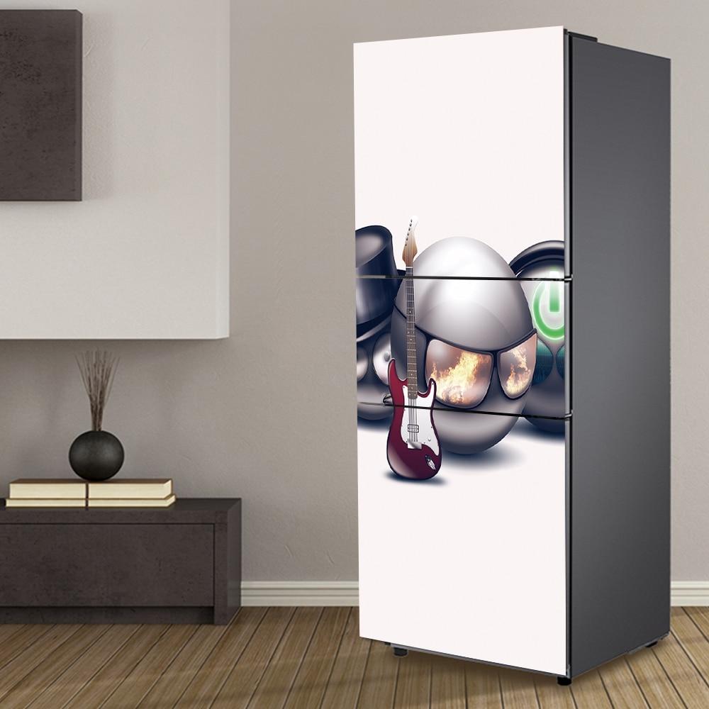 yazi Cartoon PVC Self Adhesive Refrigerator Door Sticker Fridge Refurbished Wrap Cover HD Printed Wallpaper 60x150cm
