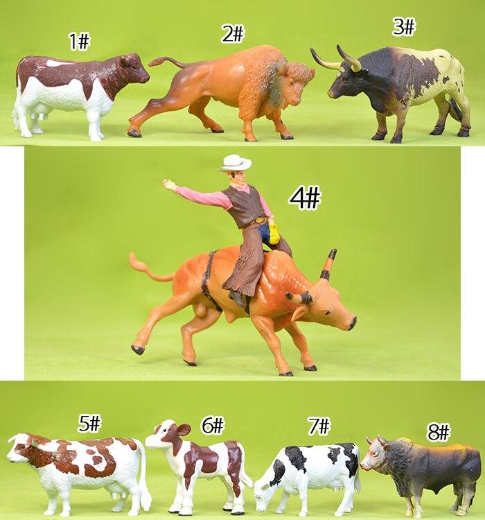 plastic  figure farm animal model   cow yak bullfighting buffalo 8pcs/set  цена