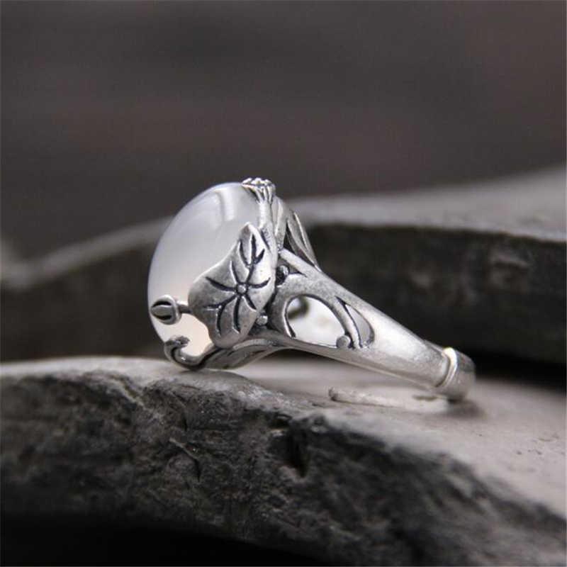 สไตล์จีนแหวนหยกสีขาวที่มีคุณภาพสูง15มิลลิเมตร* 12มิลลิเมตรนมสีขาวธรรมชาติหยกจริง925เงินสเตอร์ลิงหยกแหวนสำหรับผู้หญิง