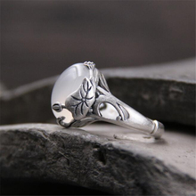 chinese style white jade ring high quality 15mm*12mm milk natural real 925 sterling silver for woman