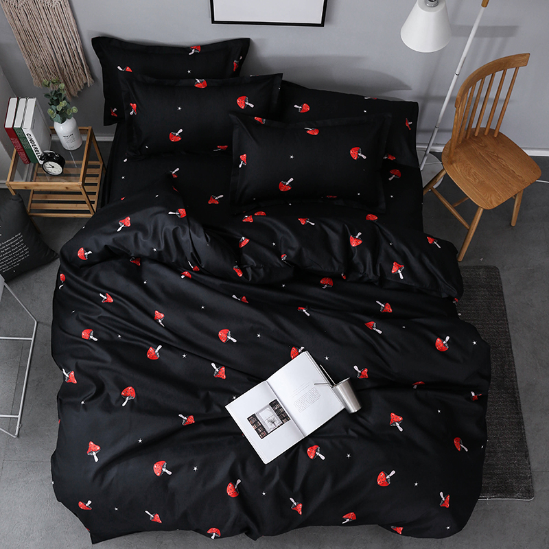 Bedding Set Black Mushroom Bed Linens King Duvet Cover Bed Sheet AB Side Bedding Pastoral Style Bedclothes