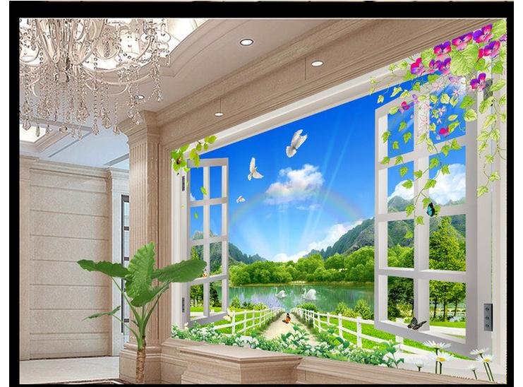 Custom photo  wallpaper 3d wall murals wallpaper Nature landscape 3D stereo window background wall papers for living room decor Обои