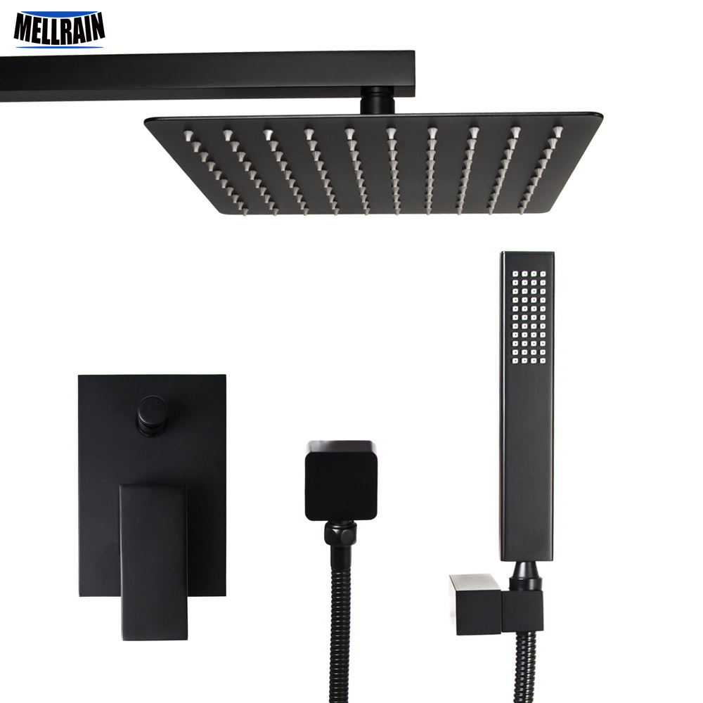 Bathroom Black Plated Square Bath Shower Set Wall Mounted Quality Brass Mixer Faucet Ultrathin Rain Shower Head 3 Size Choice