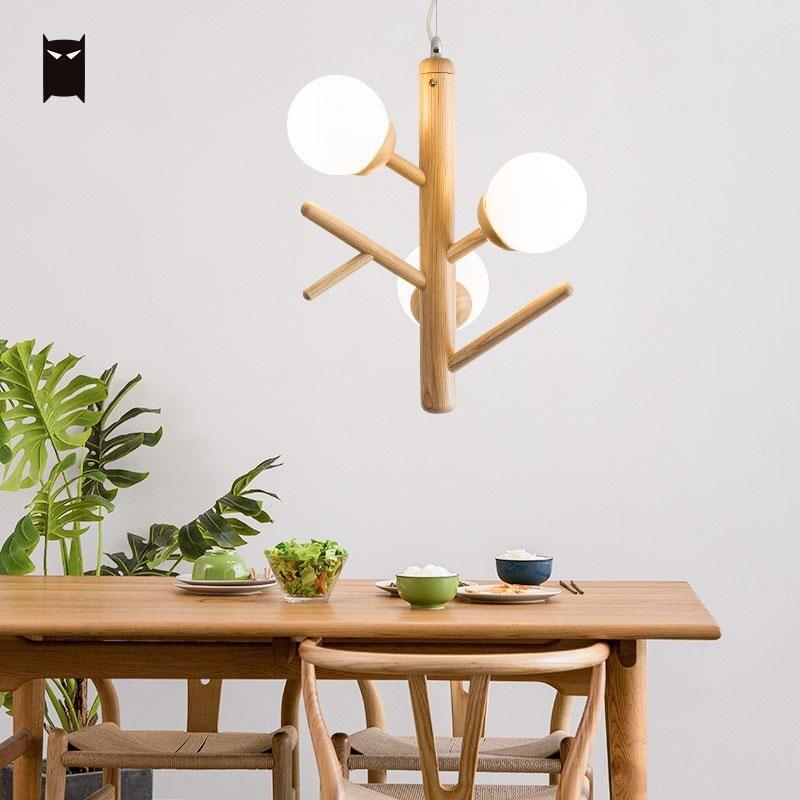 Лесной отрасли подвесной светильник японский скандинавский Nordic Стекло подвесной потолочный светильник блеск для обеденный стол E27 лампы