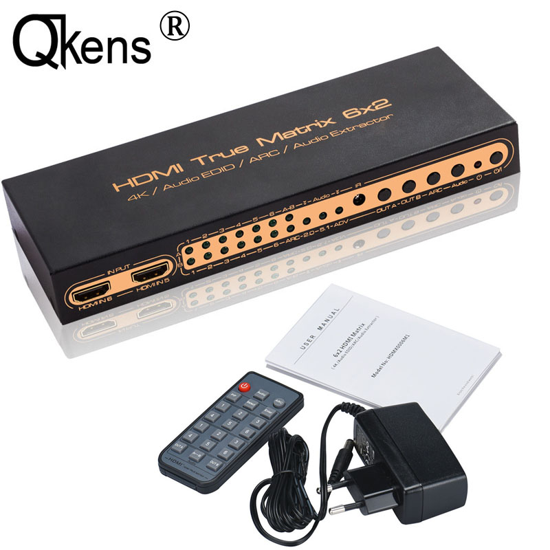 UHD 4Kx2K HDMI True Matrix 6x2 HDMI Switch Splitter ARC PIP 4K Audio Extractor HDMI Switcher Video Converter 6 IN 2 OUT PC to TV