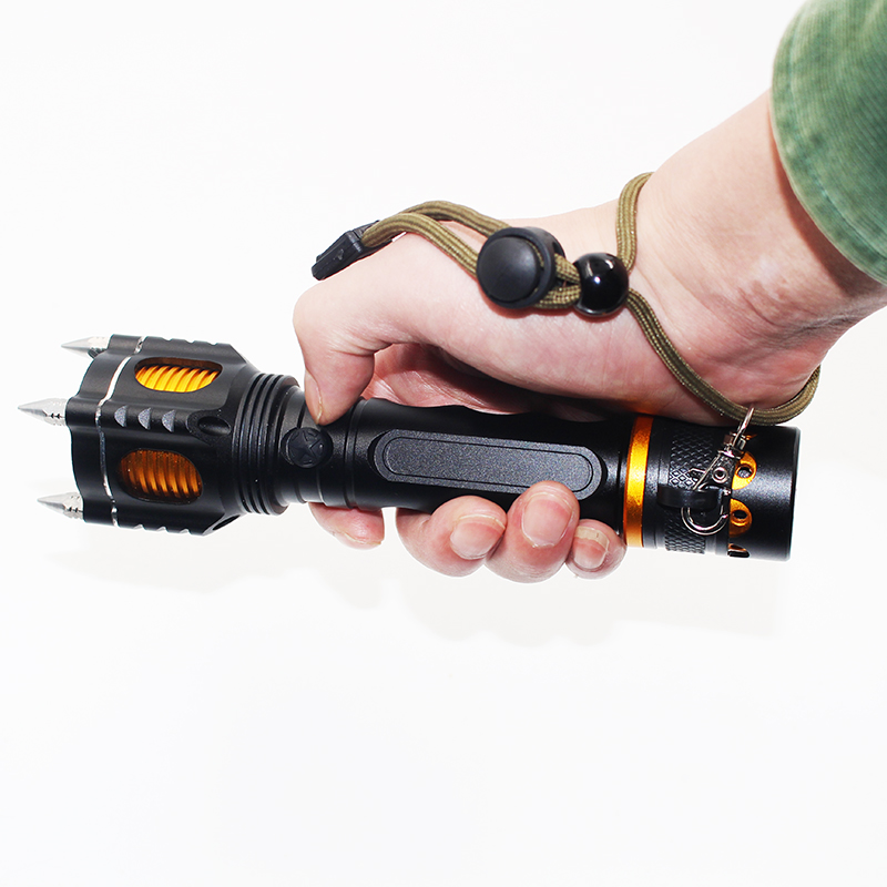 Litwod z30007 LED Flashlight Torch 3800LM XM-L T6 Four Attack Head Audible Alarm Lamp Torche Waterproof Flash Light Self Defense