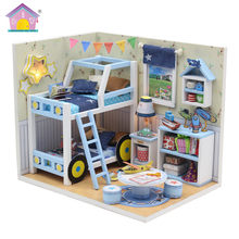 DIY Doll House Furniture with Bunk bed Dust Cover 3D Wooden Miniature Dollhouse Home model Toys for Children adult Birthday Gift(China)