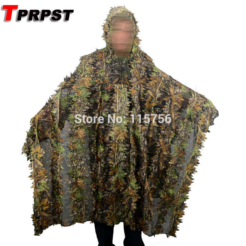TPRPST Camo 3D Foglia mantello Yowie Ghillie Traspirante Aperto Tipo Poncho Camouflage Birdwatching Poncho Sniper Suit