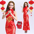 Chinese Folk Dance Traditional Clothes Rayon Vintage Long Foot Length Cheongsam Dress Red Female Sexy Qipao