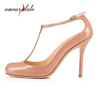 Amourplato Women Handmade Fashion 100MM High Heel T strap Pumps Round Toe Party Dress Ankle Strap Shoes Closed Toe