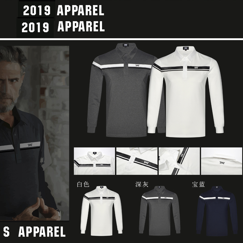 Men Golf shirts Autumn Long Sleeve Golf T Shirt Breathable Sports Clothes Men'S Polo Shirts Tops Navy White Grey Brand Shirt pgm golf t shirt men summer printed t shirt breathable anti sweat man s golf polo t shirts short sleeve golf tee training shirt