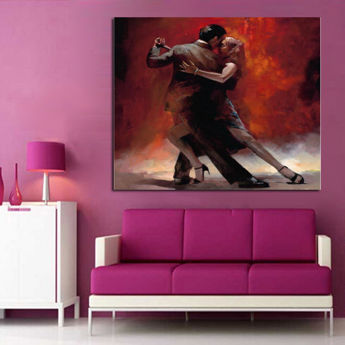 100%Handpainted Pictures Lover Tango Dance Modern Abstract Wall Art Oil Painting On Canvas For Home Decoration