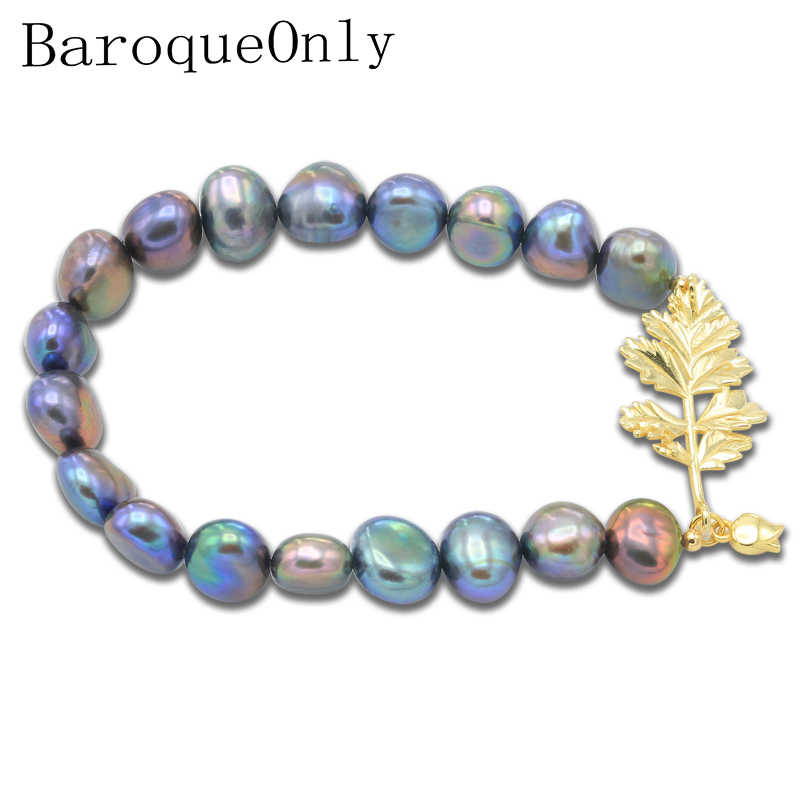 BaroqueOnly High Quality Natural Freshwater Pearl Bracelets golden leaf mixed-colour irregular Pearl Jewelry customizable