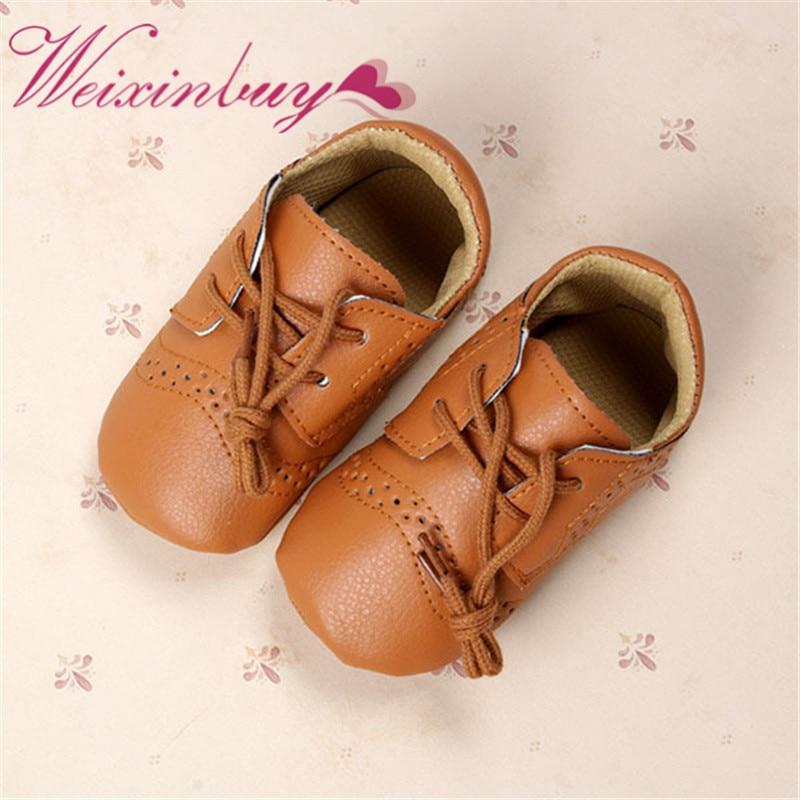 Stylish Baby Boys Girls PU Leather Crib Shoes Toddler Anti Slip Lace Shoes 0-12M