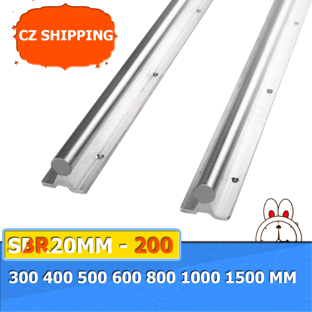2pcs Bearing Linear Supported Rail SBR20mm - 200 300 400 500 600 <font><b>800</b></font> 1000 1500 mm Linear Guide Rail Shaft Rod CNC Rounter image