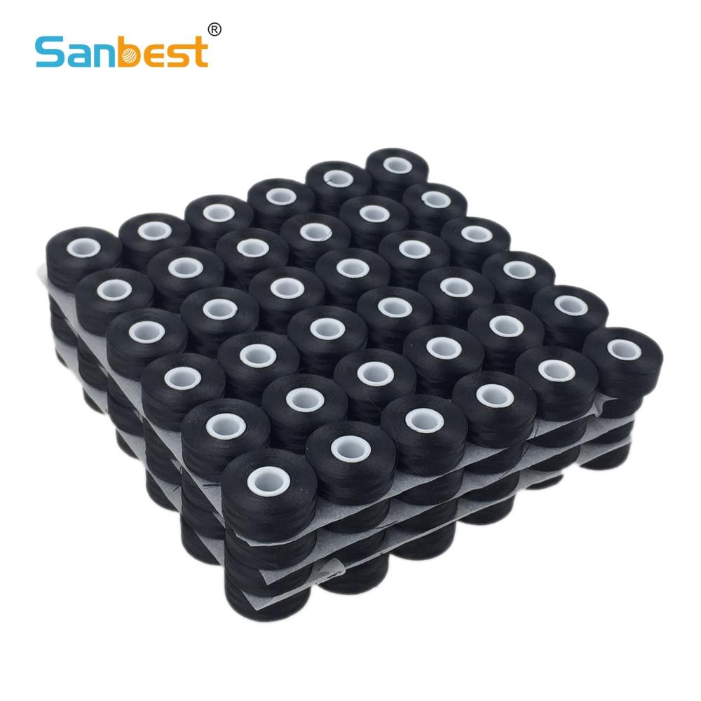 Fil de bobines pré-enroulé Sanbest, Polyester haute ténacité 70D/2 & 75D/2, sans touche, taille L, 144 pièces par boîte, blanc/noir TH00019