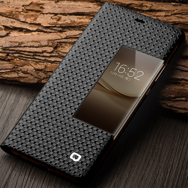 reputable site 7a638 f41ac US $23.99 20% OFF QIALINO Case for Huawei P9 Smart View Flip Genuine  Leather Window Cover for Huawei Ascend P9 Plus with Sleep Wake Up  Function-in ...