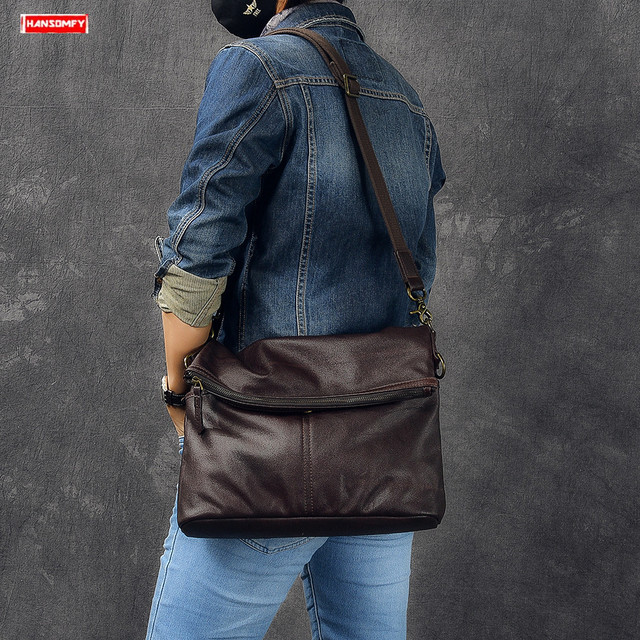 New first layer leather men folding bag retro Cowhide shoulder bag laptop briefcase male genuine Leather Messenger crossbody bag