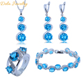 New Style Women Jewelry Sets 925 Sterling Silver Blue Breated Crystal White Crystal Bracelet/Earrings/Pendant/Necklace/Ring A02