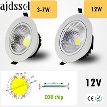 1PCS Super Bright Recessed LED Dimmable Downlight COB 3W 5W 7W 12W LED Spot light LED decoration Ceiling Lamp AC/DC 12V