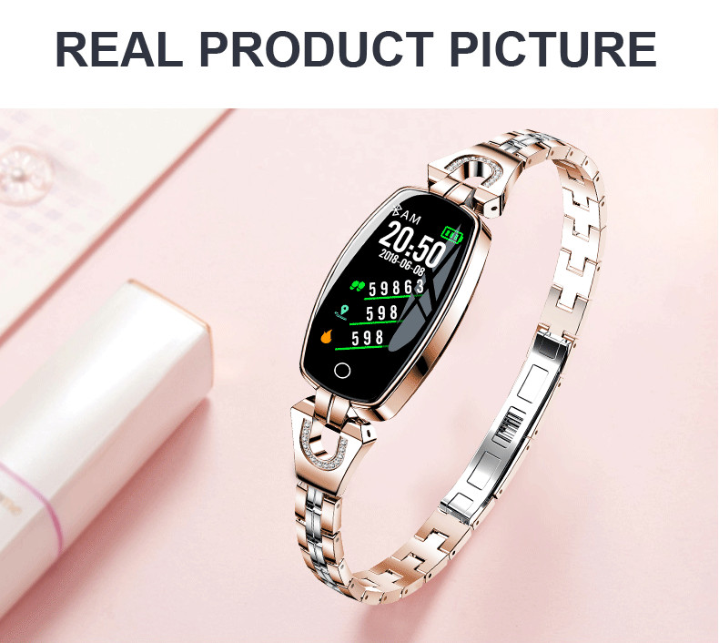 H8 HR Smartwatch Women Lady Smart Watch Bracelet Fashion Wear Stainless Steel Strap Jewel Watch Business Formal Color Screen 11.9 (22)