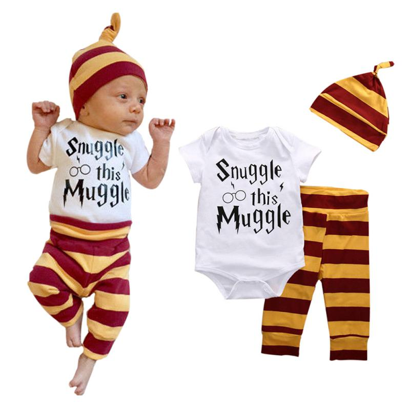 3Pcs Set Newborn Baby Boys Tops Rompers Pants Leggings Hat Outfits Clothes 0-18M 3pcs set newborn baby boys girls clothes set tops rompers cotton pants leggings hat outfits clothing baby boy 0 18m