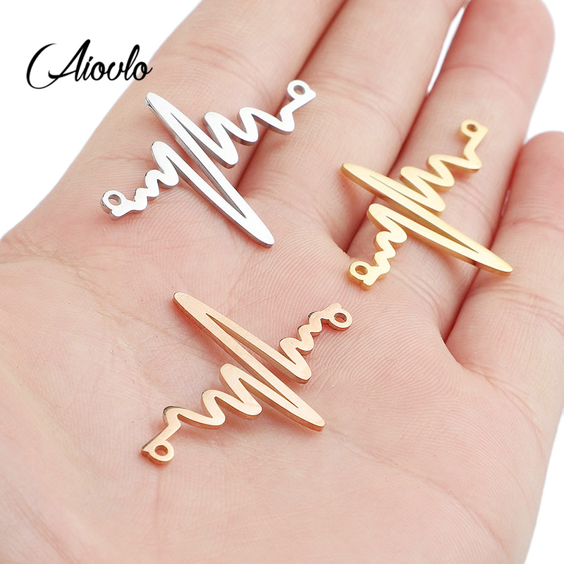 5pcs/lot Stainless Steel Flash Bracelet Connector ECG Link Pendant Charms DIY Handmade Crafts Jewelry Making Findings Supplies