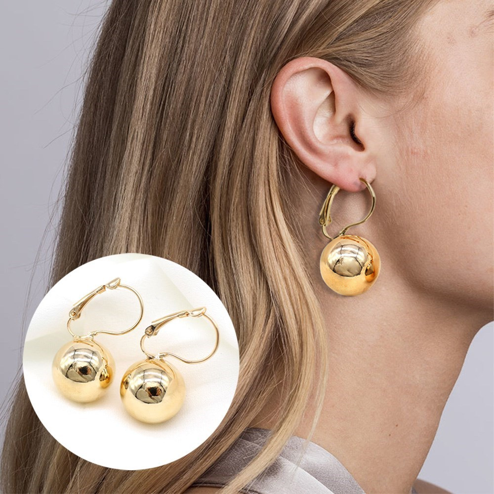 2019 New Fashion Gold color Ball Earrings Simple Metal Round Ball Stud Earrings For Woman Party Wedding Jewelry Femme Brincos 1