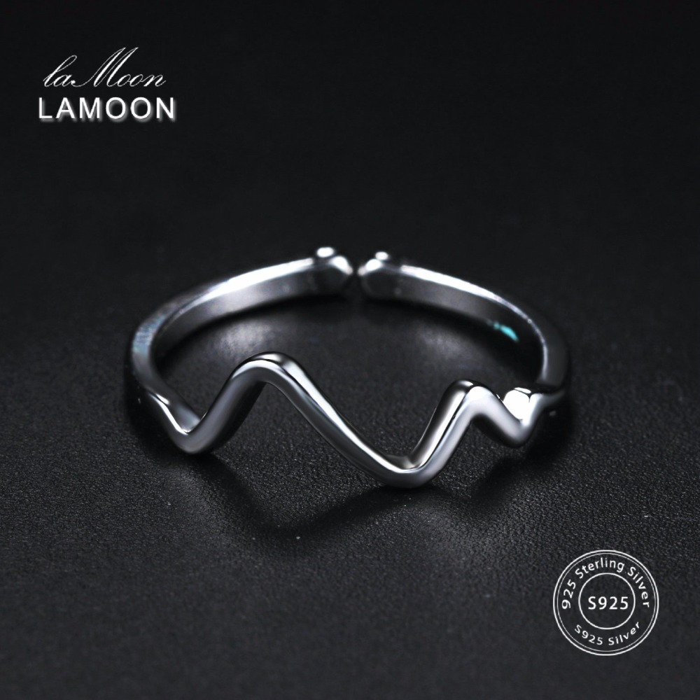 LAMOON 2018 Electrocardiogram 925-Sterling-Silver Adjustable Rings S925 Fine Jewelry For Women Girls Gift Anti Allergy LMRY046