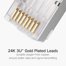 Ethernet Cable Head Plug Gold-plated Ugreen Cat6 RJ45 Connector 8P8C Modular Ethernet Cable Head Plug Gold-plated Cat 6 Crimp Network RJ 45 Connector Cat6