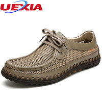 Fashion Men Shoes Leather Summer Casual Breathable Hollow Lace Up Soft Driving Handmade Chaussure Homme Loafers