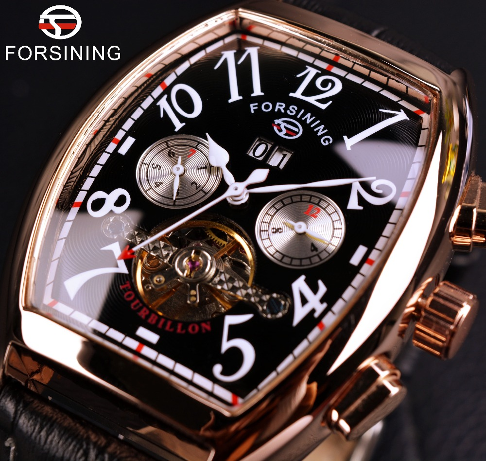Forsining Dato Måned Display Rose Gold Case Herreklokker Top Merker Luksus Automatisk Klokke Montre Homme Klokke Menn Casual Watch