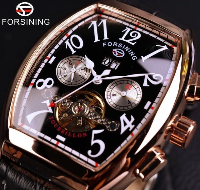 Forsining Fecha Mes Display Caja de Oro Rosa Para Hombre Relojes de Primeras Marcas de Lujo Reloj Automático Montre Homme Reloj Reloj de Los Hombres Ocasionales