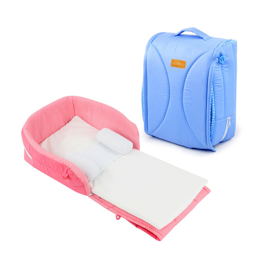 100%Cotton Portable Foldable Baby Cribs 0-6M Infant Bed Tent Baby Bed Baby Sleeping Basket