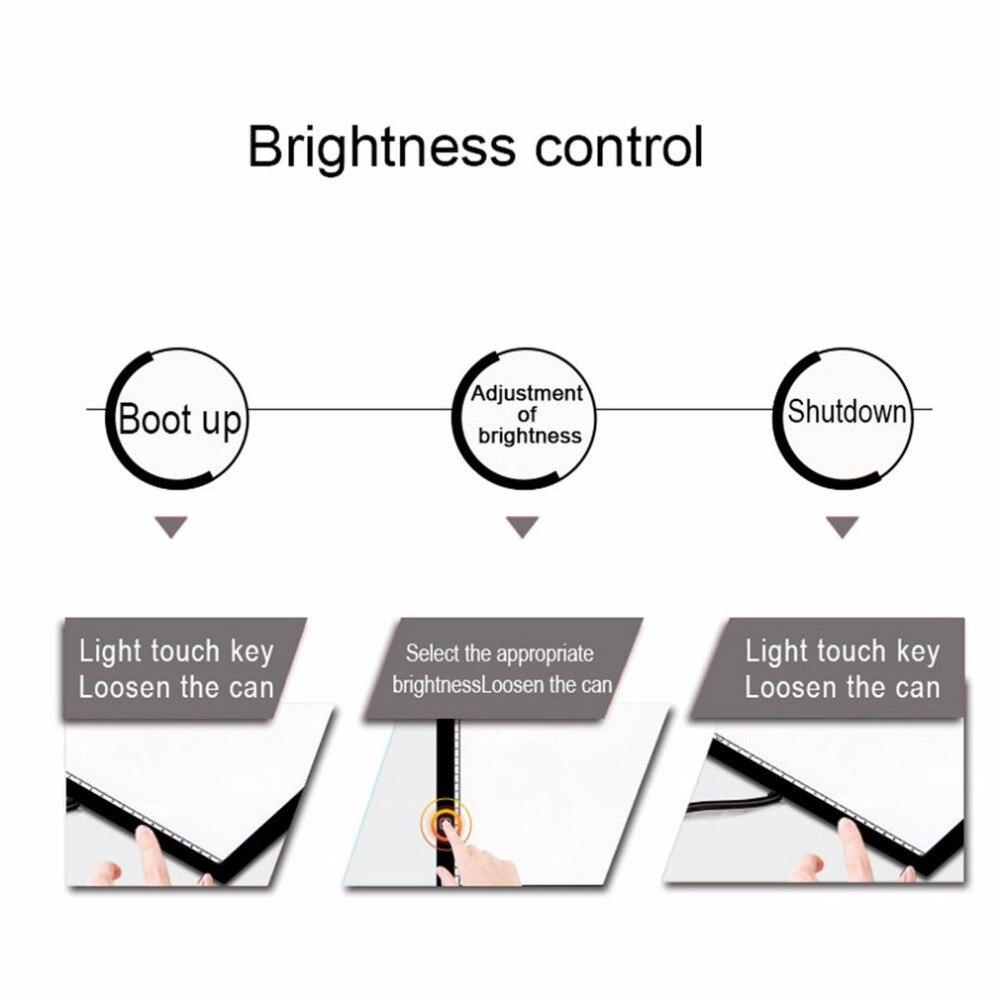 Portable A3 lumière LED Pad boîte dessin copie conseil dessin graphique tablette Table Pad panneau Pad copie conseil avec contrôle de la luminosité - 5