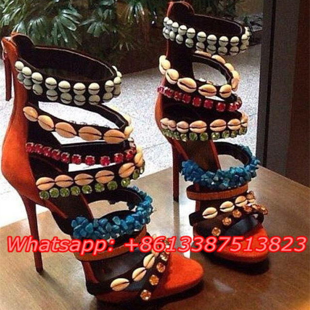 c2d094ca708 Suede Leather Beading Crystal Embellished Gladiator Sandals Peep Toe Caged  Cut-Outs Platform Zip Stiletto