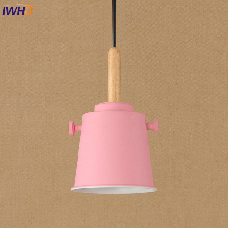IWHD RH Loft Vintage Industrial LED Pendant Lights Pink Colorful Wooden Iron Pendant Lamp Fixtures For Home Lighting Bar Cafe new loft vintage iron pendant light industrial lighting glass guard design bar cafe restaurant cage pendant lamp hanging lights