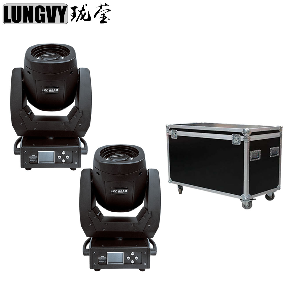 Free Shipping 2pcs/Lot Flight Case Packing 150W LED Beam Moving Head Light for DJ Party Disco Nightclub Bar Stage