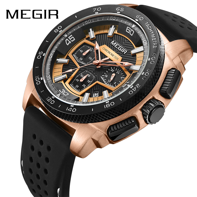 MEGIR Top Brand Men Sport Watch Fashion Silicone Army Military Watches Relogio Masculino Quartz Wrist Watch Clock Men 2056