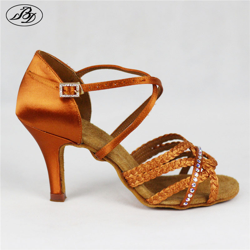 New Model BD 2382H Women Latin Dance Shoes High Heel Dark Tan Satin Ladies Sandal  Soft Raw Leather  Samba Rumba ChaCha new top grade gift pure tan wooden type h chun tan mu shu h kuan