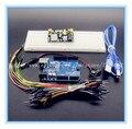 ¡ Venta caliente!! starter Kit Uno R3 MB-102 830 puntos Protoboard, 65 cables de puente Flexibles, Cable USB y 9 V Conector de La Batería