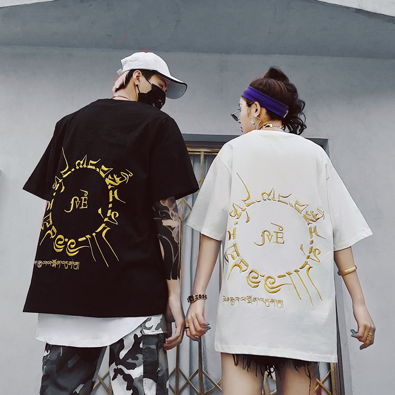 Couple'ssummer embroidered hip hop short sleeved T shirt women's large size five sleeve oversize shirt T shirt