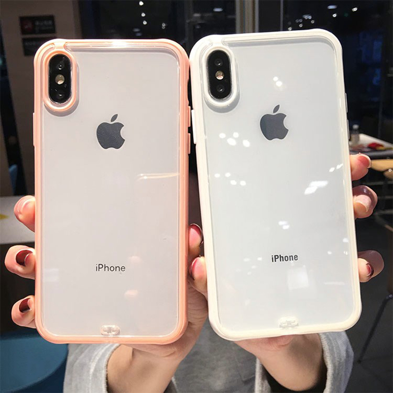 Shockproof Bumper Transparent Silicone Phone Case For iPhone X XS XR XS Max 8 7 6 6S Plus Clear protection Back Cover image