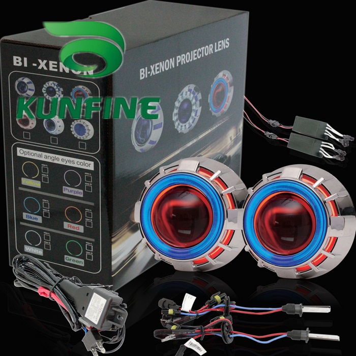 car bi xenon hid projector lens kit with double angel eyes. Black Bedroom Furniture Sets. Home Design Ideas
