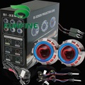 Car Bi-Xenon HID Projector Lens Kit with Double angel eyes include HID bulb For car headlight high low beam 14 months warranty