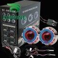 Carro Bi-Xenon ESCONDEU Kit Lente Do Projetor com angel eyes Duplas incluem lâmpada HID Para farol do carro farol alto baixo feixe 14 meses de garantia