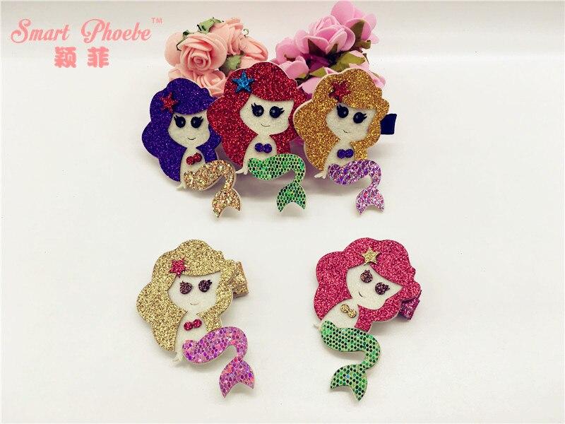 20pcs 5C Fashion Royal Glitter Princess Mermaid Girls Hairpins Solid Cute Felt Sea Maid Hair Clips