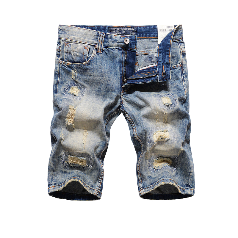 Brand Clothing Men`s Destroyed Jeans Shorts High Quality Straight Knee Length Designer Casual Blue Ripped Short Jeans Men R109 цена 2016
