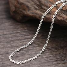 Pure Silver 2.5mm Thick Cross Link Chain Necklace Women Men S925 Sterling Silver Round Wafer Cross Necklace Jewelry Accessory